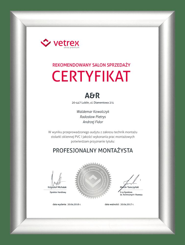 www certyfikaty profesjonalny montazysta aandr lublin